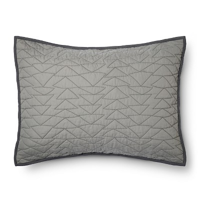Triangle Stitch Pillow Sham (Standard)Gray - Pillowfort™