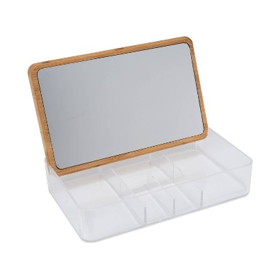 Simplify 5 Compartment Large Organizer with Bamboo Lid and Mirror Clear