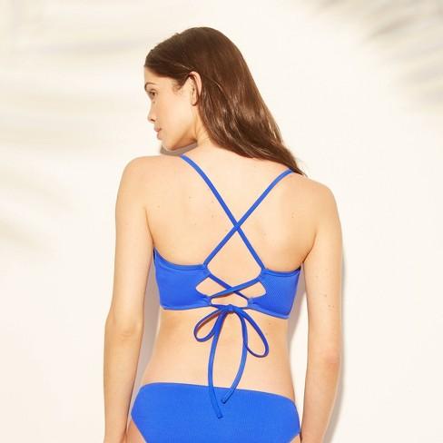 3dee36184058a Women's Women Dream Lightly Lined V Wire Ribbed Bikini Top - Shade & Shore™  Cobalt Blue : Target