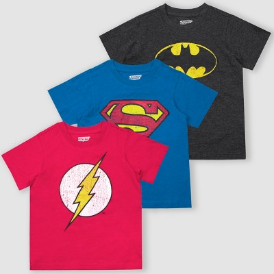 Toddler Boys' Warner Bros. DC Comics Heroes 3pk Short Sleeve T-Shirt - Gray/Pink/Blue