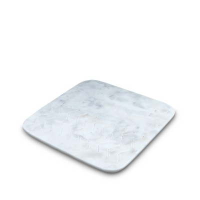 "Thirstystone 9.5"" Marble Etched Arrow Square Trivet White"
