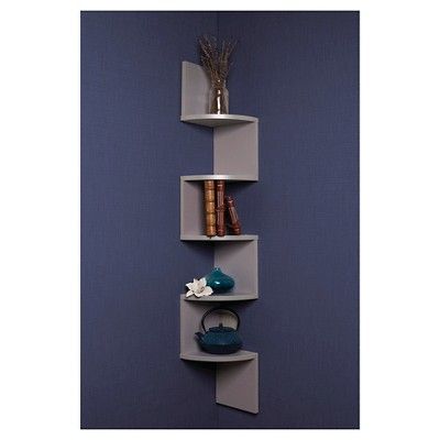 zig zag corner shelf gray target rh target com zig zag corner shelves uk Corner Wall Shelves