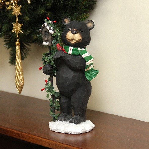 "Northlight 9.75"" Black Grizzly Bear with Pine Berry Bird House Christmas Table Top Decoration"