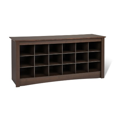 Shoe Cubbie Storage Bench Espresso Brown - Prepac