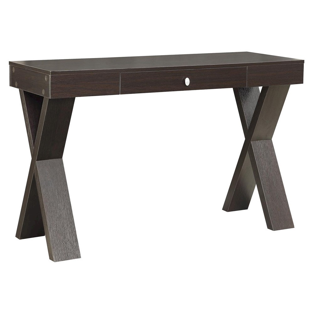 Newport Desk with Drawer Black - Convenience Concepts, Brown