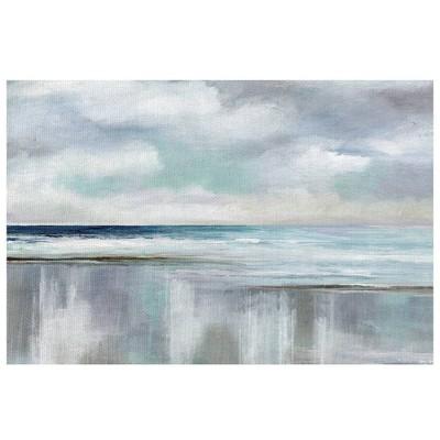 "24"" x 36"" Cyan Sunrise by Nan Wrapped Unframed Canvas Wall Art Painting Blue - Fine Art Canvas"