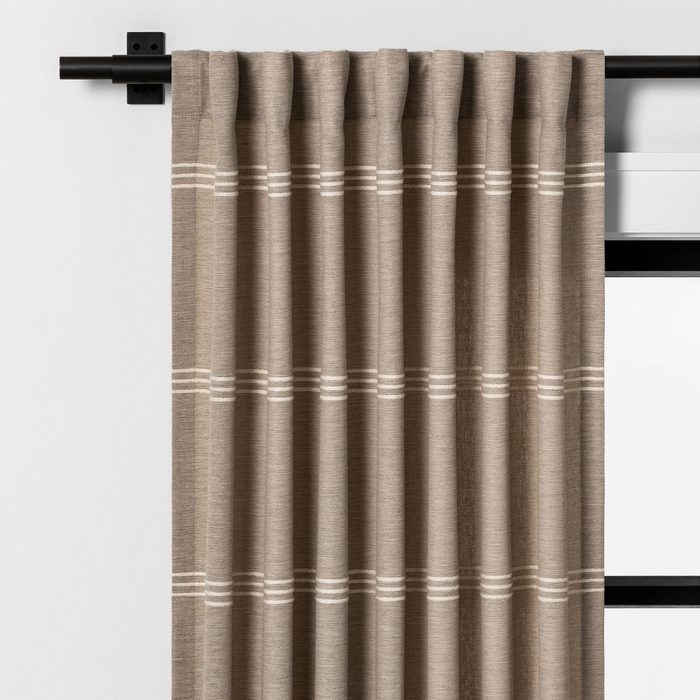 """Image of """"108"""""""" Bold Stripe Curtain Panel Taupe - Hearth & Hand with Magnolia"""""""