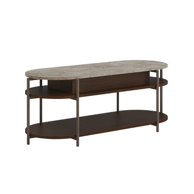 Radial Coffee Table with Stone Look Lift Top Umber Wood - Sauder