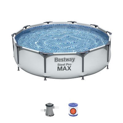 Bestway 56407E Steel Pro Max 10-Foot x 30-Inch Outdoor Round Frame Above Ground Swimming Pool Set with 330 GPH Filter Pump and Filter Cartridge, Gray