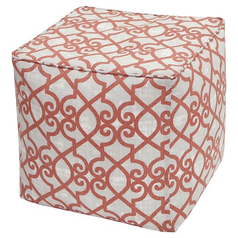 Pismo Printed Fretwork 3M Scotchgard Outdoor Pouf - Coral (18x18x18) - image 1 of 1