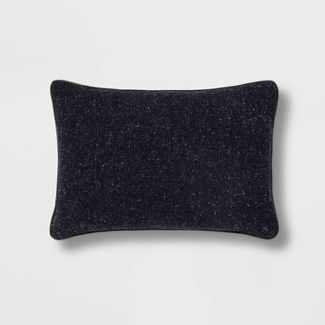 Tweed Lumbar Pillow with Faux Leather Piping Navy - Threshold™