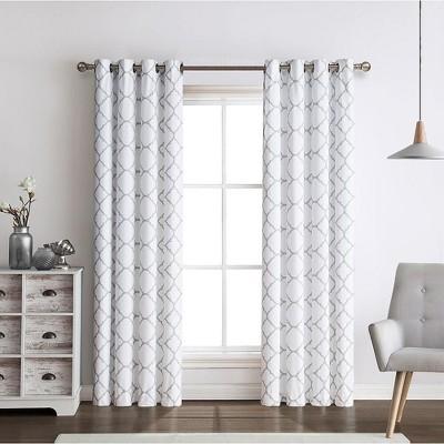 Regal Home 2 Pack: Thermal Lattice Foamback Room Darkening Grommet Top Curtains