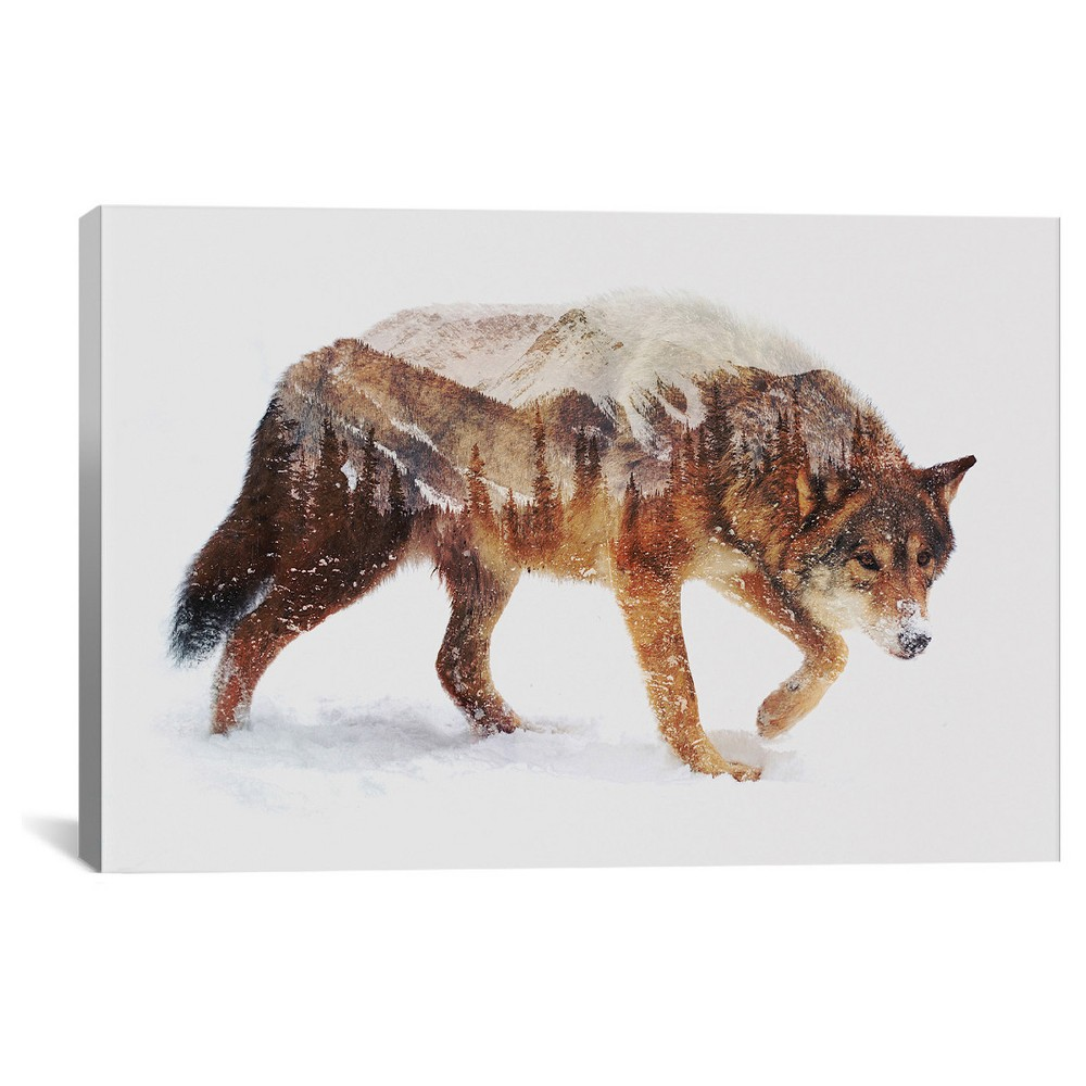 "Image of ""12"""" x 18"""" Arctic Wolf by Andreas Lie Canvas Print - iCanvas, Size: 12 x 18, Beige Brown White"""