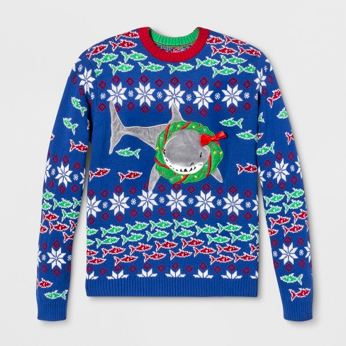 33 Degrees Mens Ugly Christmas Shark Wreath Long Sleeve Pullover