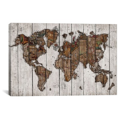 Wood Map by Diego Tirigall Canvas Print