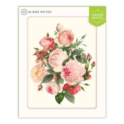 10ct Blank Note Cards Rose Bush