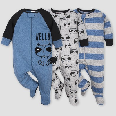 Gerber Baby Boys' 3pk Raccoon Sleep N' Play Pajamas - Blue/Gray 0-3M