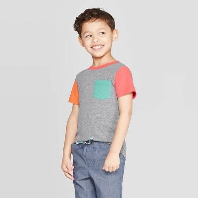 Toddler Boys' Snow Jersey Colorblock T-Shirt - Cat & Jack™ Heather Gray 3T