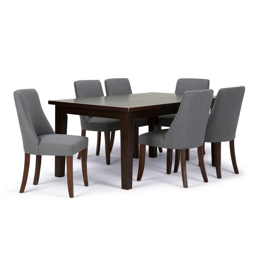 Haley Solid Hardwood 7pc Dining Set Slate (Grey) Gray - Wyndenhall