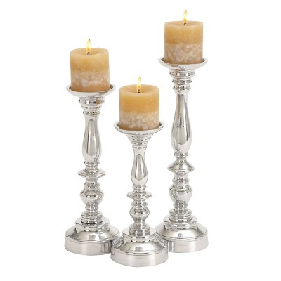 Set of 3 Traditional Aluminum Pillar Candle Holders - Olivia & May