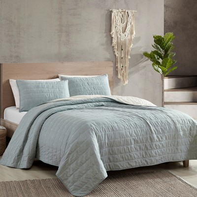 Modern Threads Reversible 3 Piece Embroidered Quilt Set, Everly.
