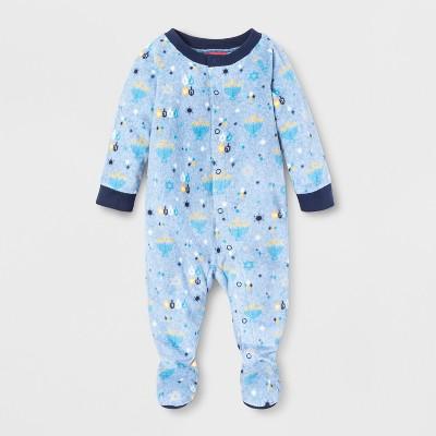 Baby Hanukkah Footed Sleeper - Wondershop™ Blue 3-6M