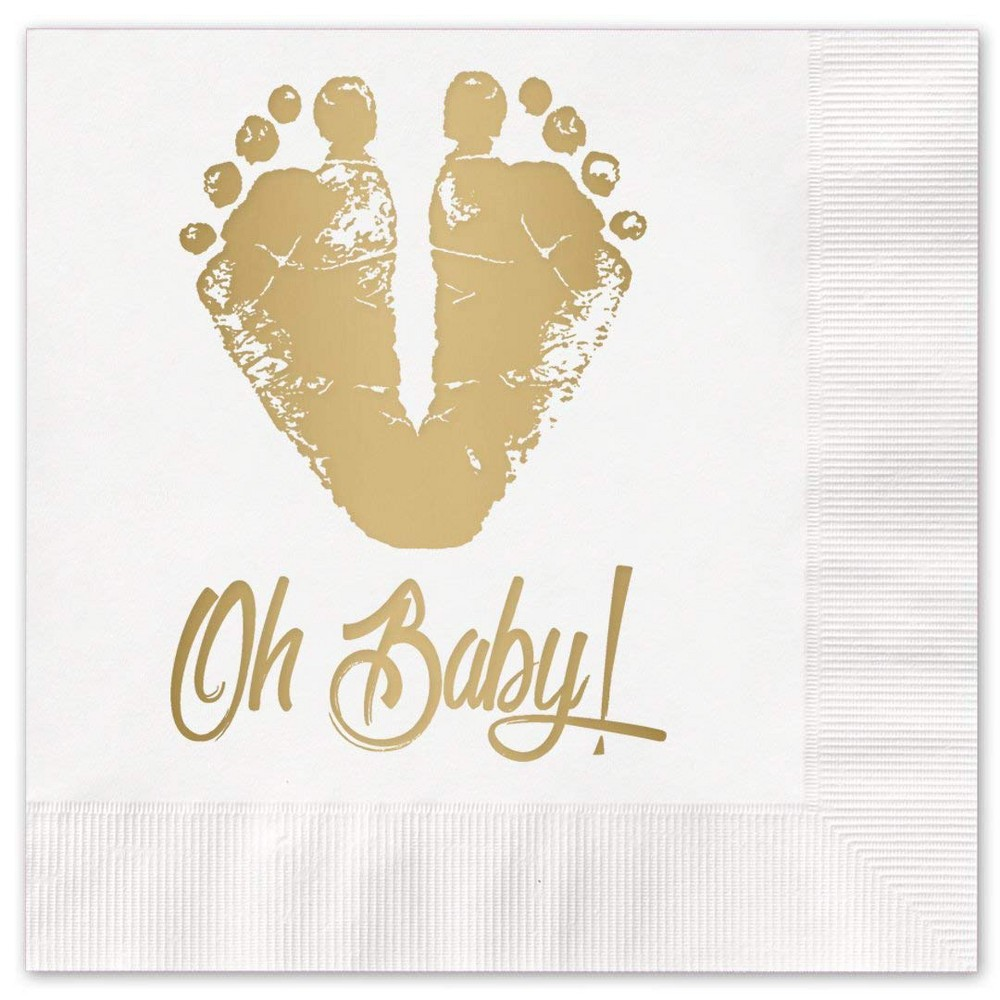 "Image of ""25ct """"Oh Baby"""" Napkins - Canopy Street, Multi-Colored"""