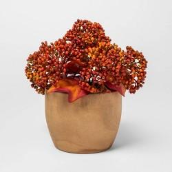 "9"" x 7"" Artificial Sedum Arrangement in Wooden Pot Orange - Threshold™"