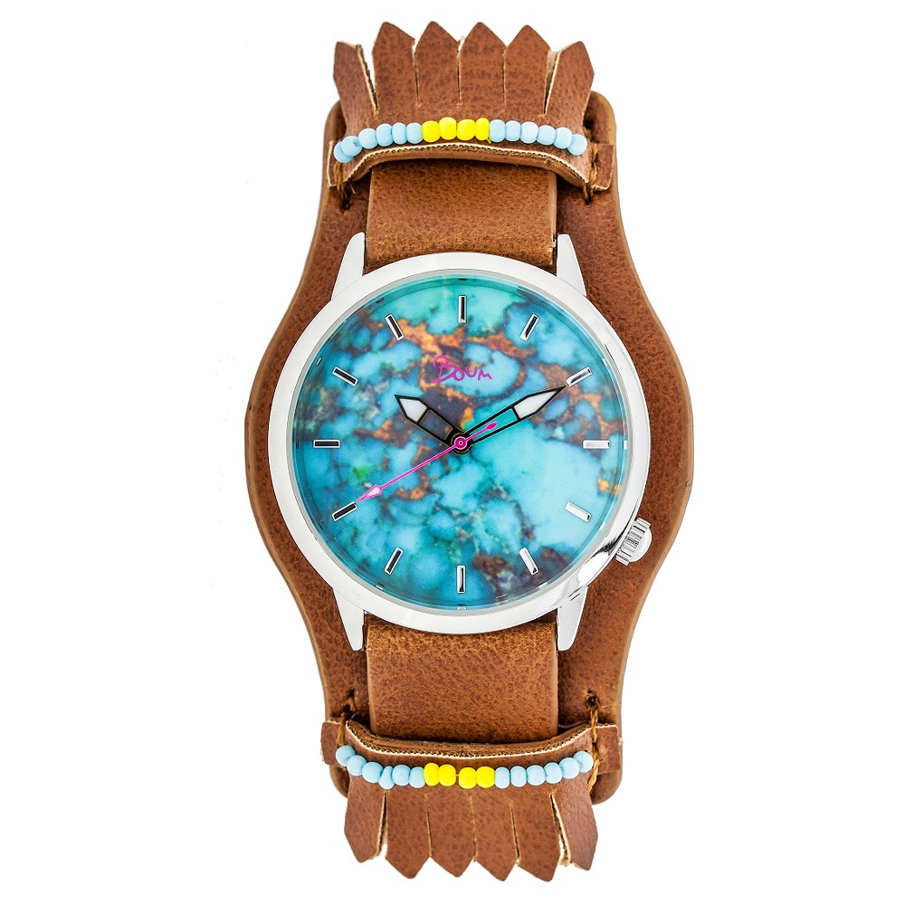Boum Originaire Ladies Marbelized Dial Leather-Band watch - Brown