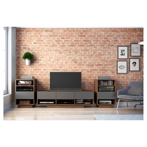 "Sequence Entertainment Kit with TV Stand and Drawer Audio Cabinet - 60"" - Walnut & Charcoal - Nexera - image 1 of 3"