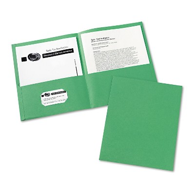 Avery Two-Pocket Folder 40-Sheet Capacity Green 25/Box 47987
