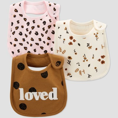 Baby Girls' 3pk Polka Dot Bib - Just One You® made by carter's Off-White/Brown