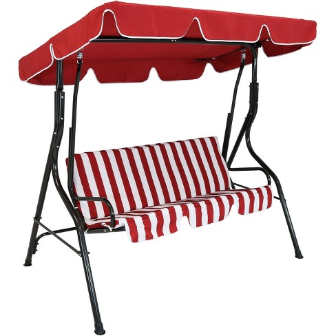 2-Person Steel Frame Porch Swing with Adjustable Canopy - Red Stripe ...