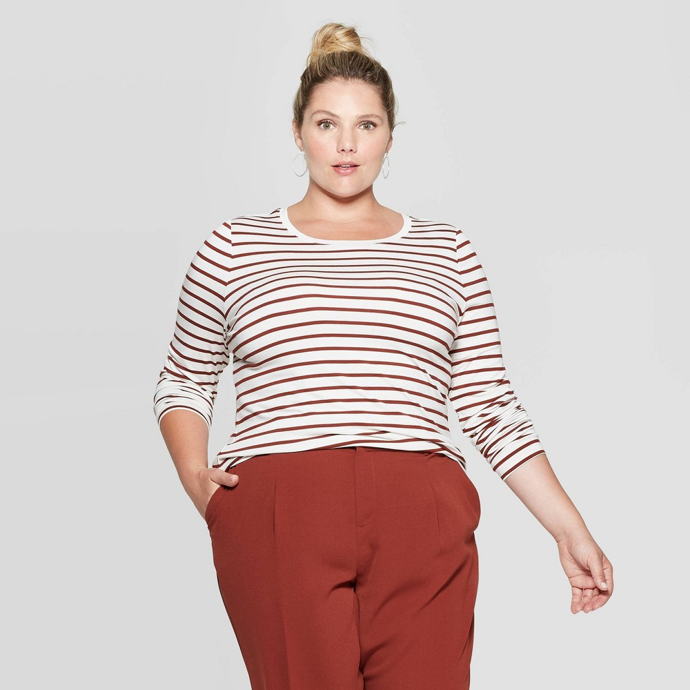 Women's Plus Size Striped Long Sleeve Crewneck T-Shirt - Ava & Viv Cream/Brown 1X, Size: 1XL, White was $12.0 now $8.4 (30.0% off)