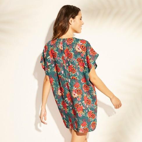 241de61c1b Women s Lace Trim Kimono Cover Up - Xhilaration™ Teal Floral   Target