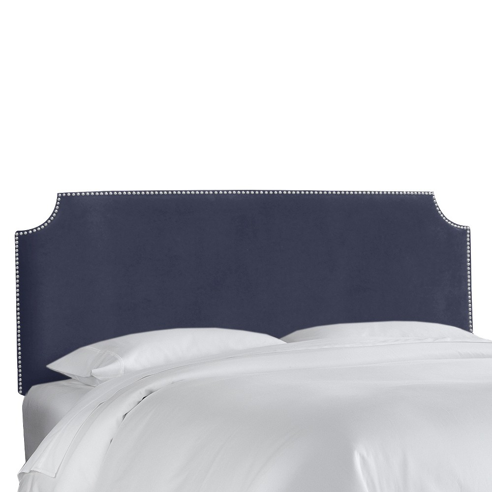 King Lombard Nail Button Notched Headboard Navy Microfiber - Skyline Furniture