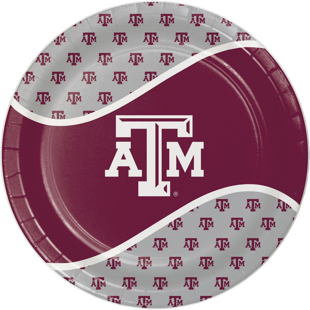 Image of 24ct Texas A&M Aggies Paper Plates White