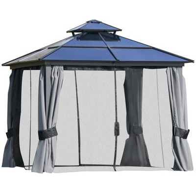 Outsunny Polycarbonate Hardtop Patio Gazebo Canopy with Double-Tier Roof and Mesh Sidewalls