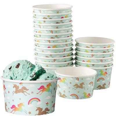 Juvale 100 Count Rainbow Unicorn Disposable Paper Ice Cream Sundae Cups Yogurt Dessert Bowls 8 oz Party Supplies