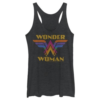 Women's Wonder Woman Retro Rainbow Logo Racerback Tank Top