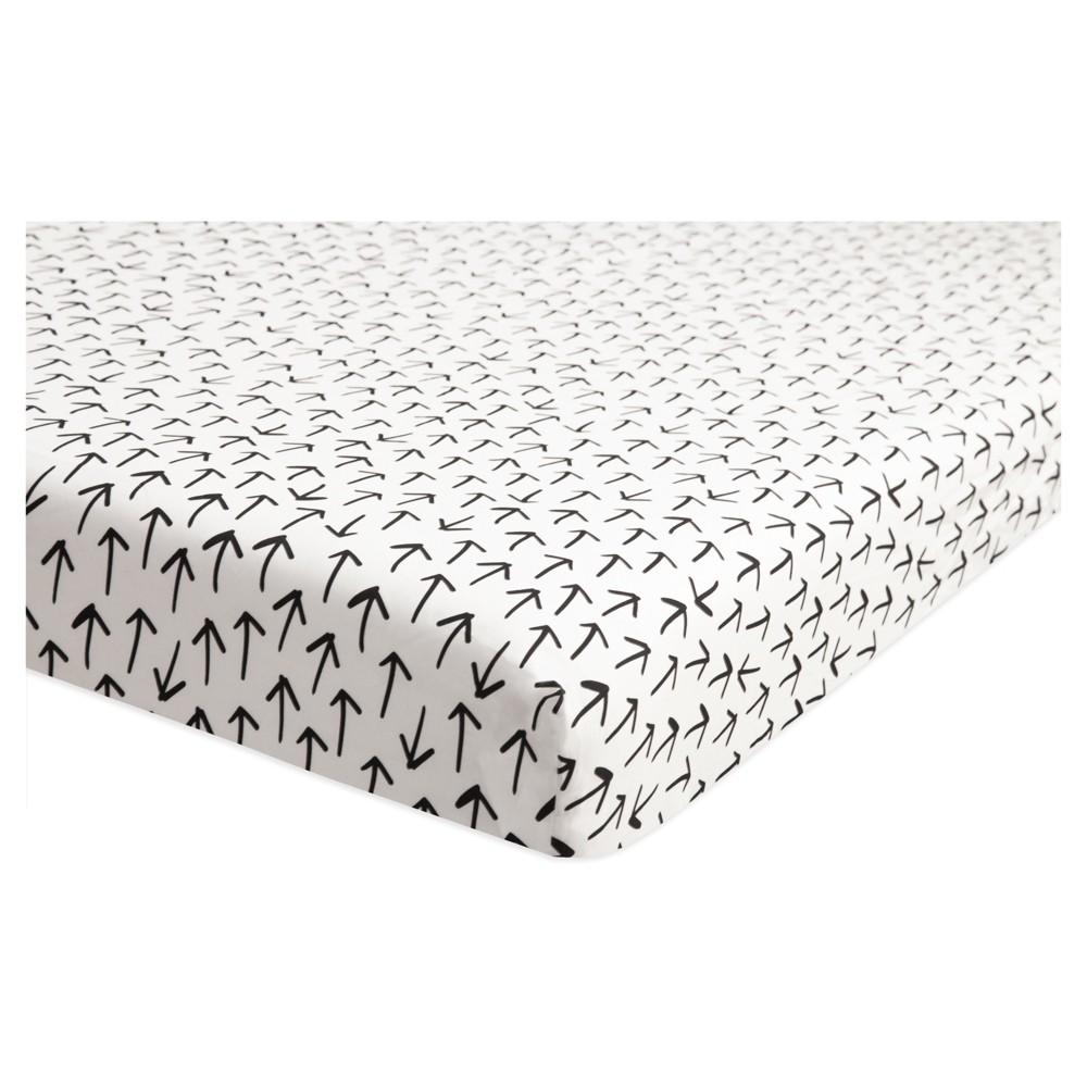 Image of Babyletto Mini Fitted Crib Sheet - Tuxedo Monochrome Arrows