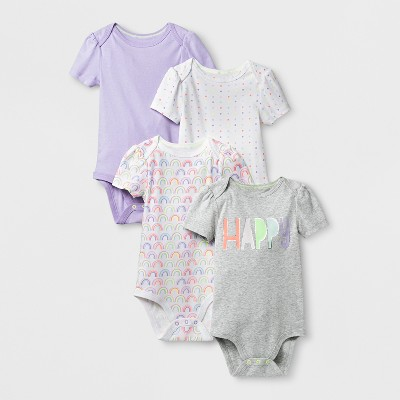 Baby Girls' 4pk Short Sleeve Bodysuit - Cloud Island™ White 24M