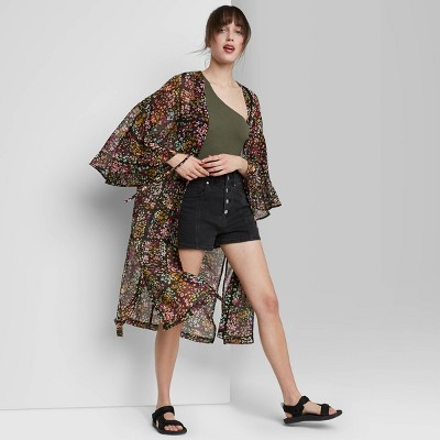 Women's Floral Print Duster - Wild Fable™ Black