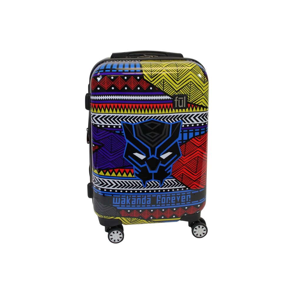 "Image of ""FUL 21"""" Black Panther Hardside Suitcase - Tribal Art, Size: Small"""