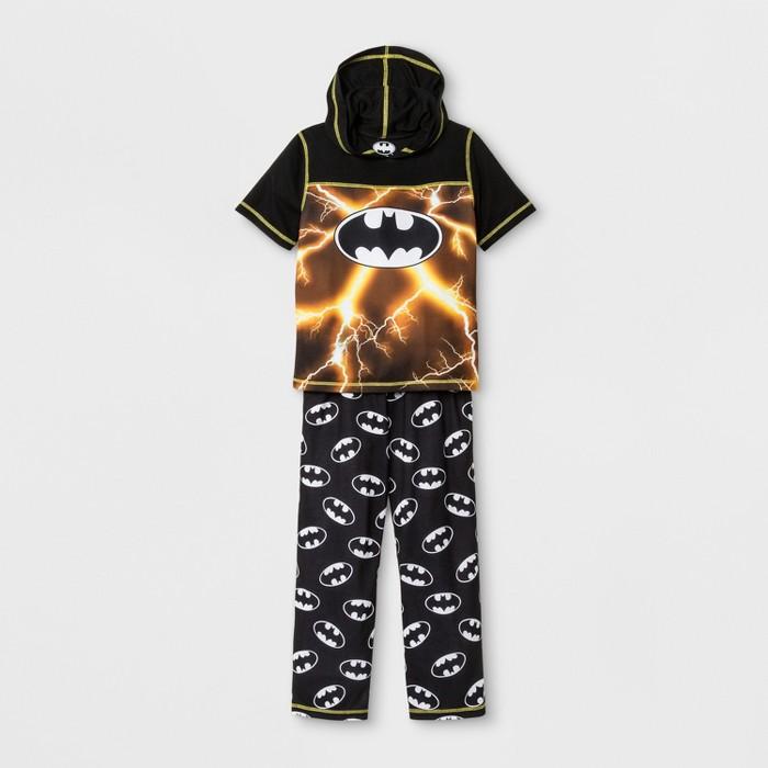 Boys' Batman Hooded 2pc Pajama Set - Black - image 1 of 1