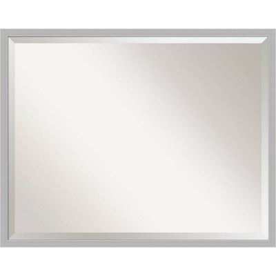 Hera Brushed Framed Bathroom Vanity Wall Mirror Chrome - Amanti Art