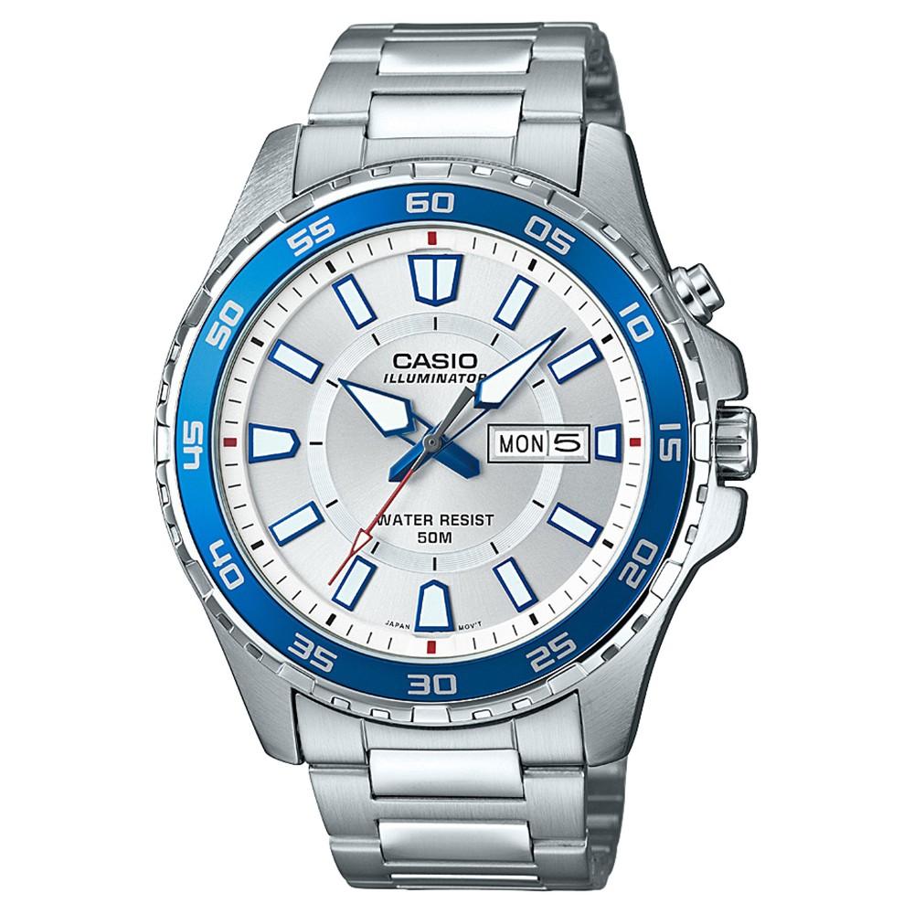 Men's Casio MTD110D-7AV Analog/Digital Watch - Silver/Blue, Medium Silver