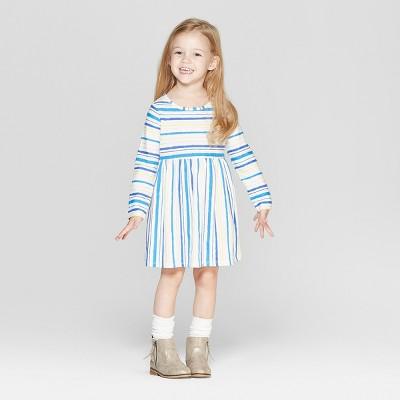 Toddler Girls' Long Sleeve Stripe All Over Print Dress - Cat & Jack™ Cream 12M