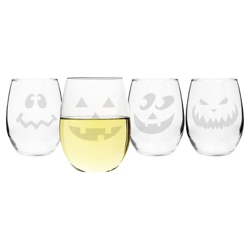 Halloween Stemless Wine Glasses - 4ct - image 1 of 3