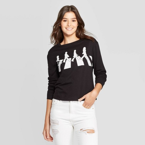 Women's The Beatles Abbey Road Long Sleeve Graphic T-Shirt (Juniors') - Black - image 1 of 2